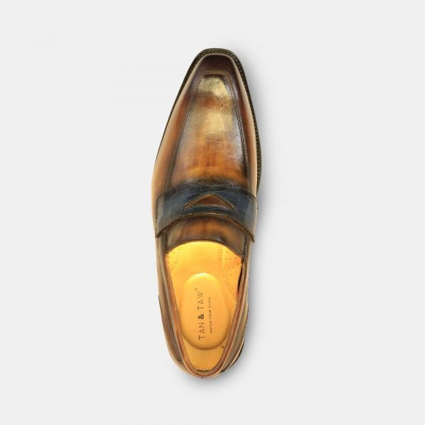 loafer shoes for men tan color in grey plain background